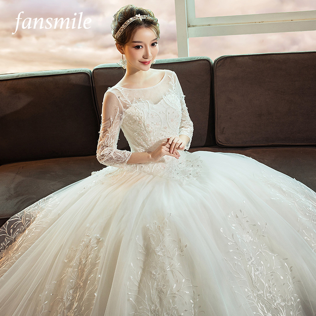 Fansmile 2019 Korean Lace Up Ball Gown Quality Wedding Dresses Vestido de  Noiva Customized Plus Size Bridal Dress FSM-536F 6f710e2ab300