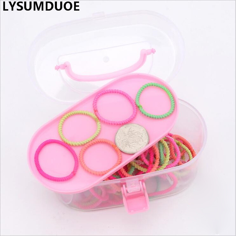 100Pcs Girls Hair Accessories Korean Fashion Scrunchy Elastic Hair Bands Candy Color Pigtail Holder Box Gift Cute Kids Headdress in Hair Accessories from Mother Kids
