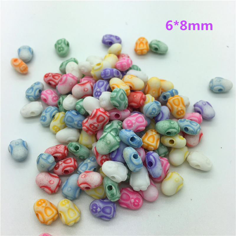 50pcs 6*8mm Penguin Mixed Colors Acrylic Perforation Beads Diy Jewelry Making Earrings Necklace Bracelet Accessories #no-34 Pure And Mild Flavor