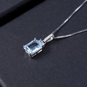 Image 3 - Gems Ballet Natural rectángulo Topacio azul cielo piedra preciosa Plata de Ley 925 colgantes clásicos y Collar para mujeres joyería fina