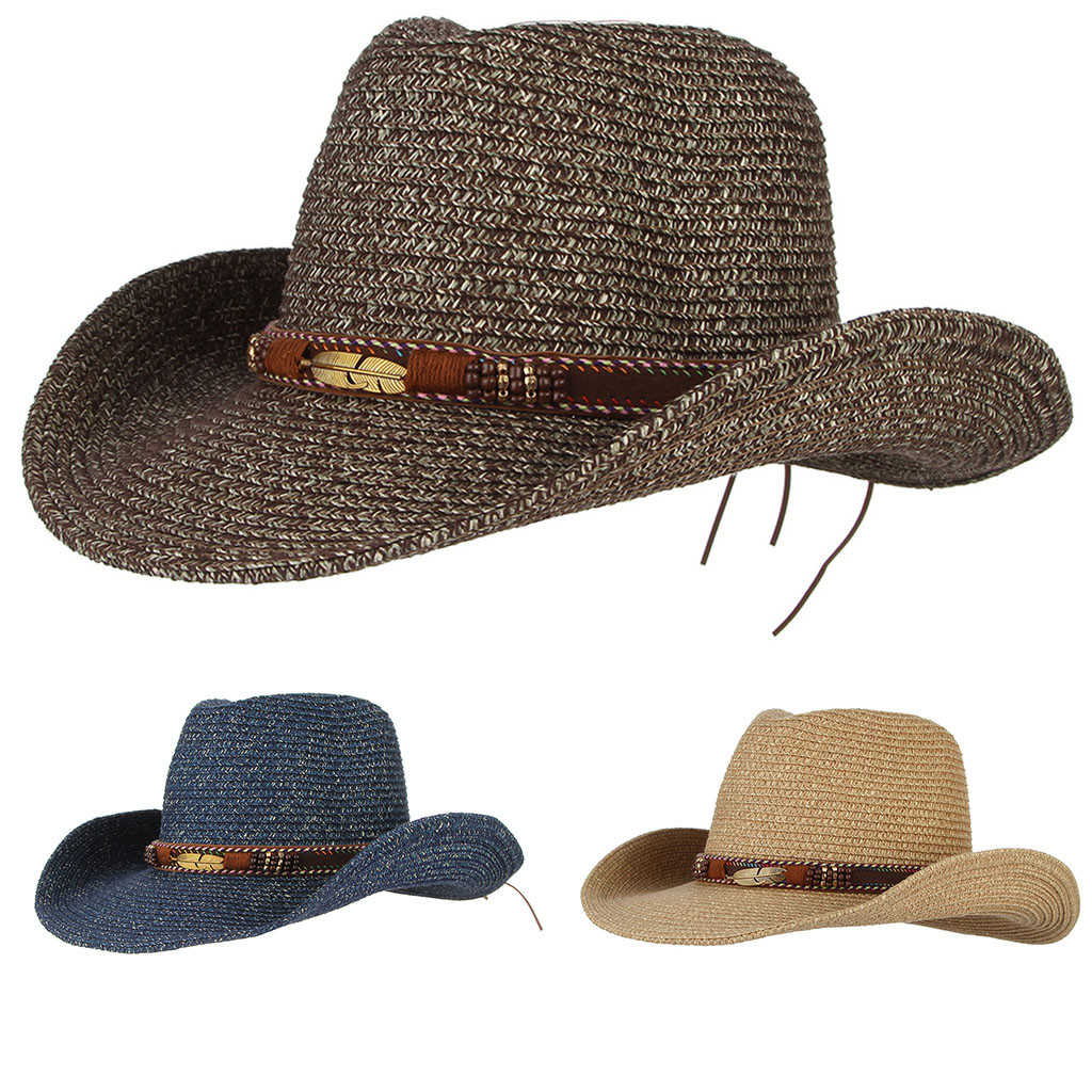 Fashion <font><b>Hat</b></font> 2019 Men Women Retro Western <font><b>Cowboy</b></font> Riding <font><b>Hat</b></font> Leather Belt Wide Brim Cap <font><b>Hat</b></font> image