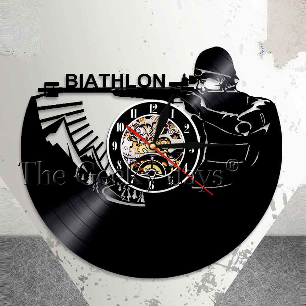 Winter Biathlon Wall Art Home Decor Wall Clock Sports Target Shooting Vinyl Record Wall Clock Skiing Rifle Biathletes Clock ...