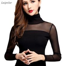 Women Sexy Blouse Shirt For Work Fashion Casual Long Sleeve Lace Tops Sexy Hollow Woman Tops Autumn Mesh Shirts White Black sexy midriff baring tops