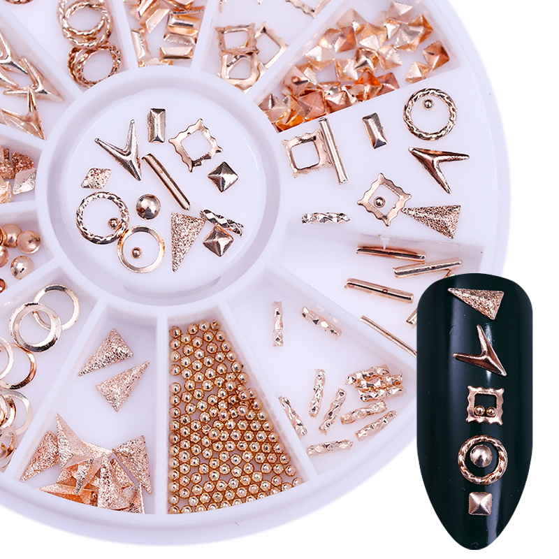 Rose Gold Rivet Studs 3D Nail Decoration Triangle Circle Round Square Beads Manicure Nail Art Decorations in Wheel 3d half round beads stud nail art decoration tip wheel