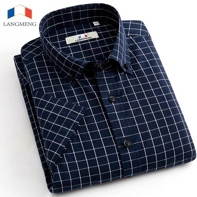 Langmeng 2016 High quality Men Shirt Short Sleeve Male Dress Shirts Slim Fit Casual cotton shirts Mens Clothing Camisa Masculina
