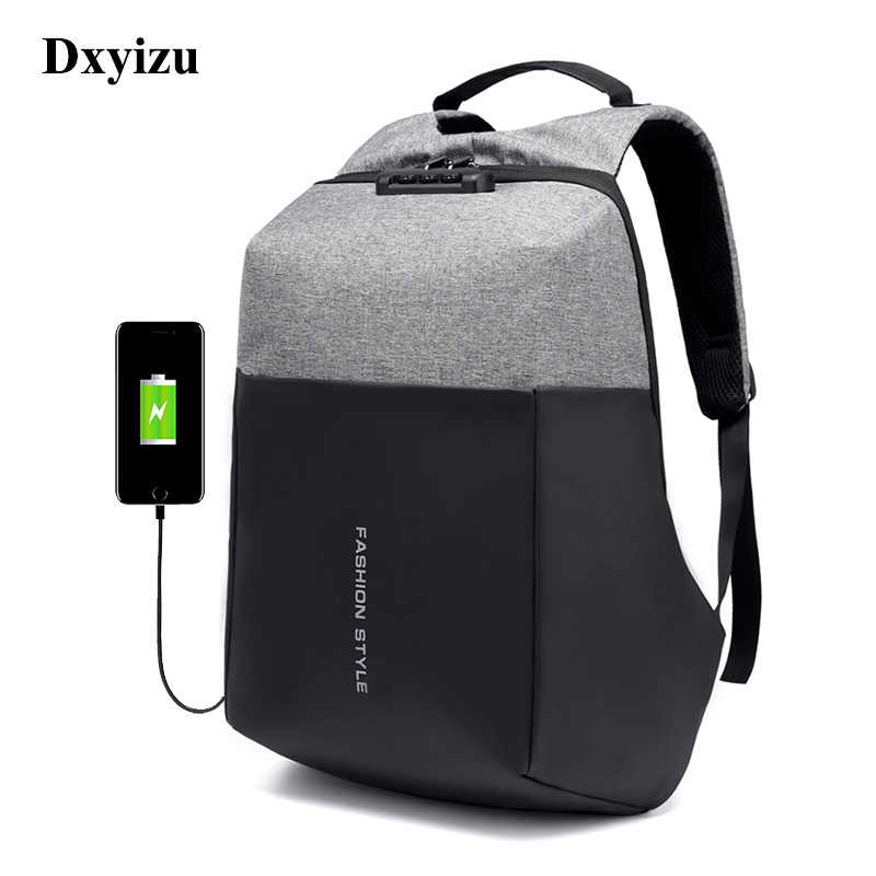 DXYIZU Brand New Men Travel Backpack Anti-theft USB Recharging port for 15.6
