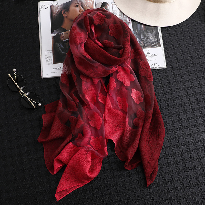 2019 New Fashion Women Cut Flowers Hollow Lace Gradient Silk Scarf Spring Shawls and Wraps Towel Femme Beach Sjaals in Women 39 s Scarves from Apparel Accessories
