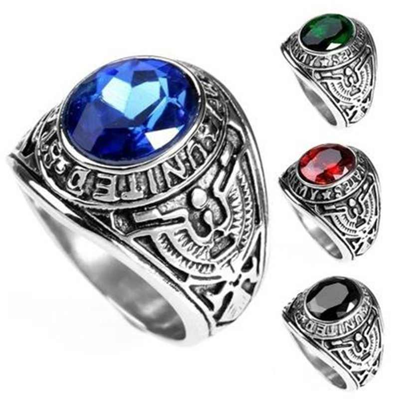 5903ca3216 US Military Rings Stainless Steel Rhinestones Army Navy Ring For Men