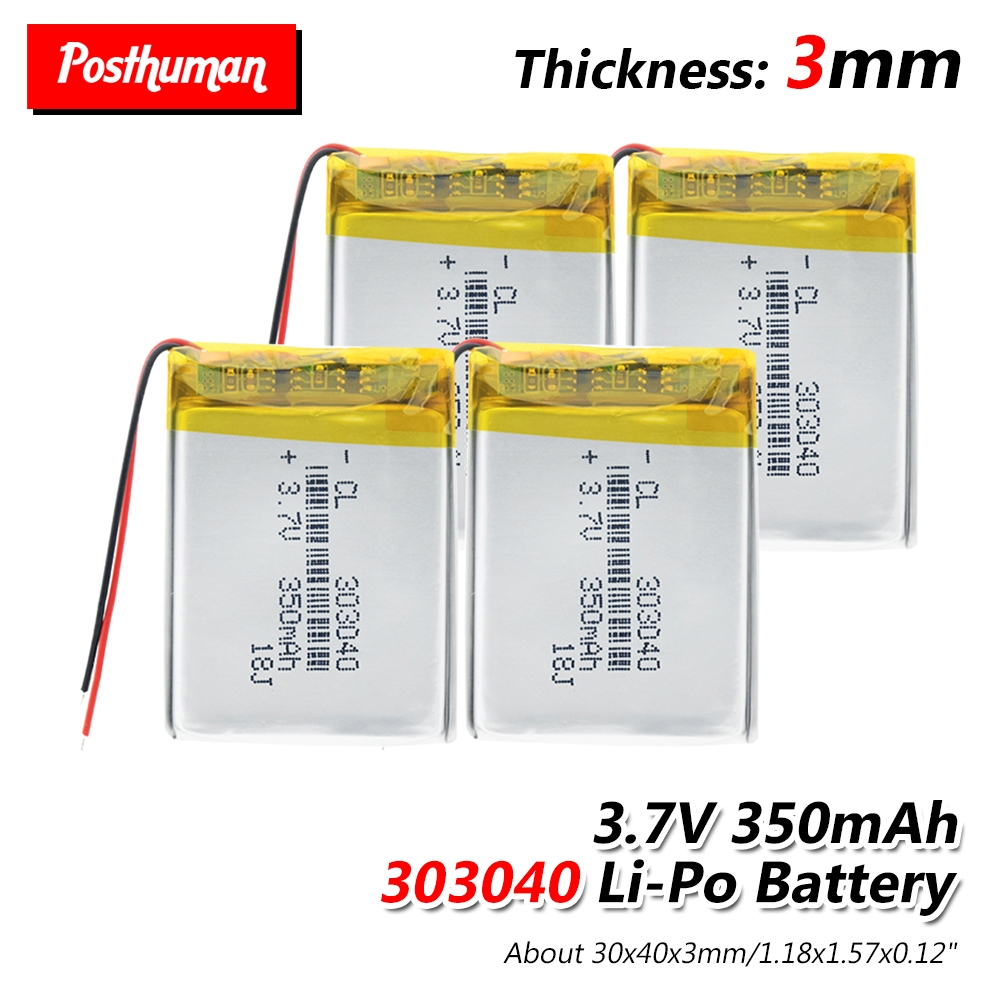 Rechargeable <font><b>3.7V</b></font> 350mAh Lipo Battery 303040 Lithium Polymer Li-Po li ion Battery Lipo cells For MP3 MP4 GPS Medical Device image