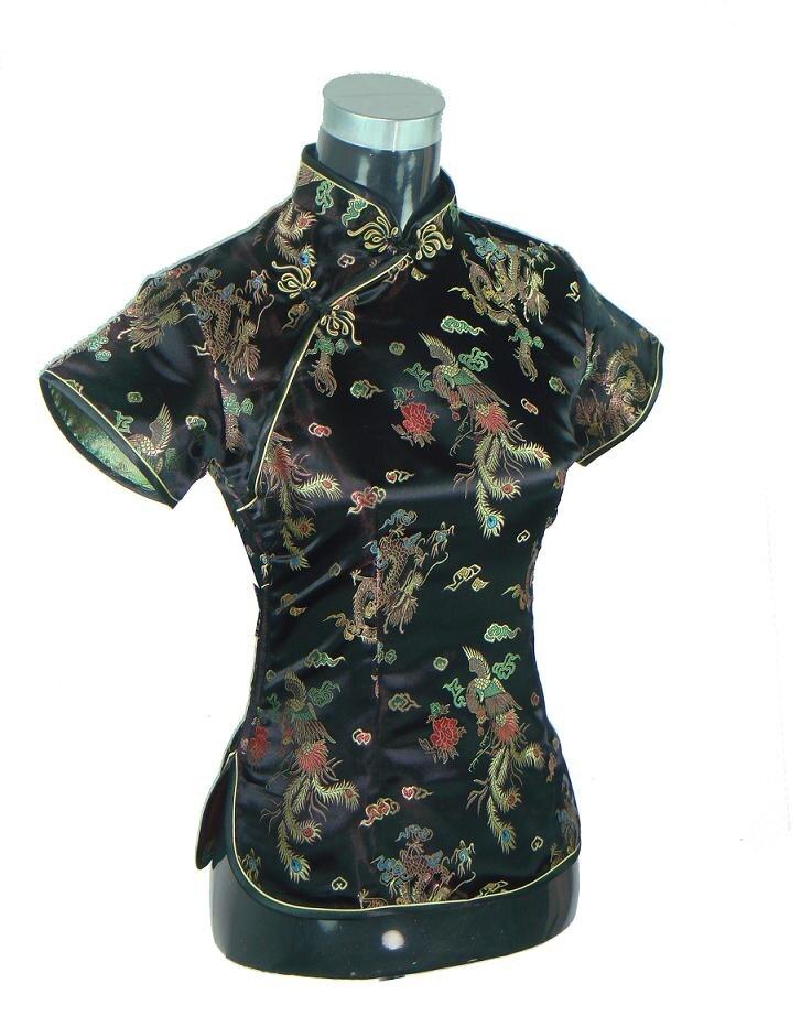 Black Traditional Chinese Women Silk Satin Blouse Summer Short Sleeve Shirt Tops Handmade Button Clothing S M L XL XXL WS052