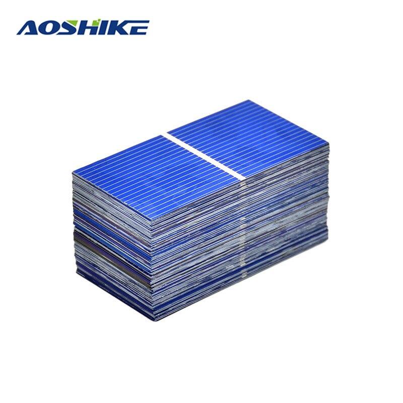 Aoshike 100pcs Solar Panel Polycrystalline Silicon solar module 52x26mm DIY 0.25W 0.5V Photovoltaic Panel DIY Home Solar Sistem