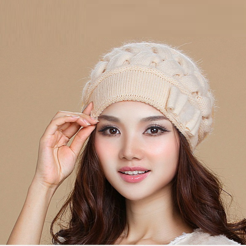 New Arrival Middle-aged Lady Winter Knitting Hat Female Fashion Wool Hat Girls Warm Knitting Wool Hat Cap Knitted Hat  B-7605
