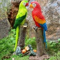 Resin Parrot Sculpture Home Decoration Crafts Parrot Statue Garden Decor Animal Parrot Figurine