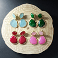 WT-E244 Wholesale 5pcs Micro Pave Setting Earrings Gift Mixed colors couble stone earrings with 24k gold electroplated earrings