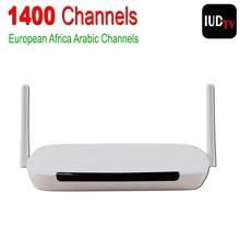 IUDTV Europa Cielo Árabe Canales de IPTV Caja Android 4.4 WiFi HDMI Caja de la TV inteligente 1400 Más Canales Árabe Francés Paquete HD Deportes