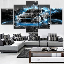 Home Decor Canvas Print Abstract Car Painting Wall Art Modular Frame Picture 5 Pieces Nissa Skyline Gtr Car Poster Living Room(China)