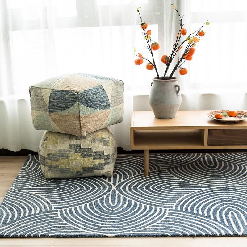 Tapis de chevet magnifique fait main en laine géométrique bleue de style moderne, tapis de table basse de salon, tapis de chevet de décoration nordique