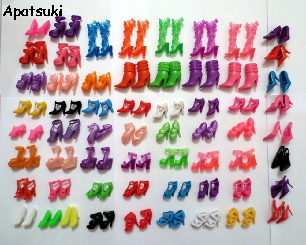60Pairs Mixed-Styles Fashion Sandals Boots Little Toy Assorted Shoes For Barbie Doll Accessories High-heel Shoes For Barbie Doll