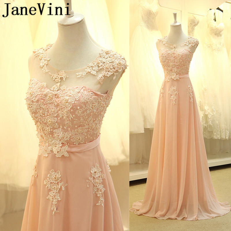 JaneVini Pink Sequin   Bridesmaid     Dresses   Girl Ladies   Dresses   For Wedding Party Long Chiffon Lace Pearls Women Prom Formal Gowns