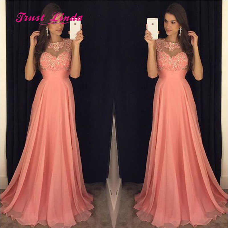 2ec1ed5e714f ... Modest Chiffon Long Dress For Wedding Party For Woman O Neck Appliques  Wedding Party Dress Coral ...