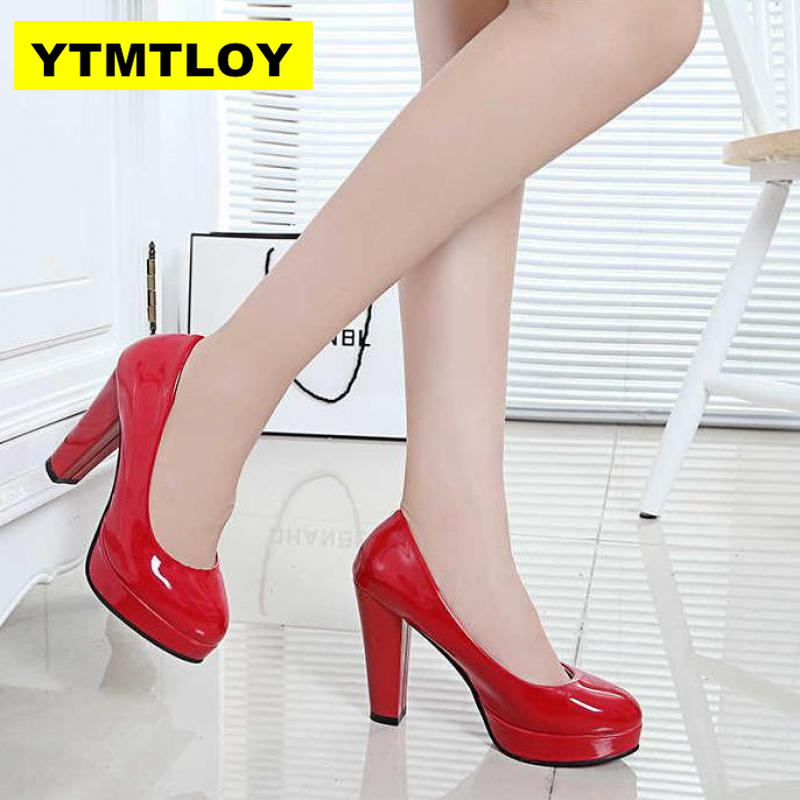 2019 Women Pumps Fashion Classic Patent Leather High Heels Shoes Nude Sharp Head Paltform Wedding Dress Plus Size 34-42