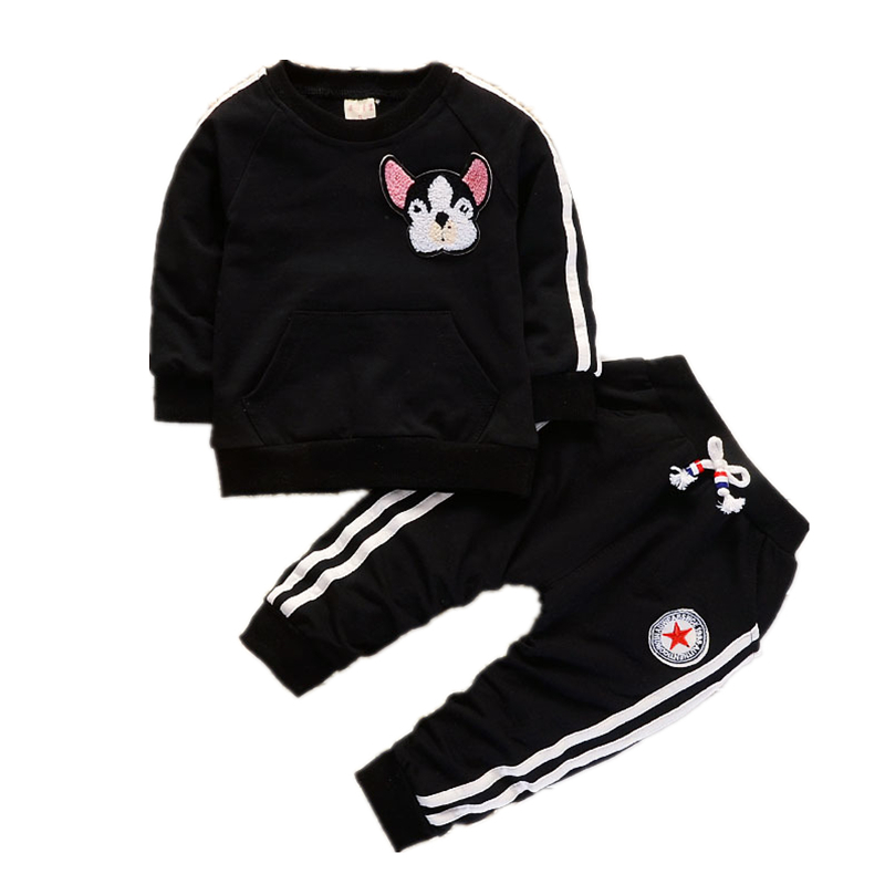 Spring Autumn Children Boys Girls Clothing Suits Fashion Baby Embroidery Cartoon Dog T-shirt Pants 2Pcs/sets Toddler Tracksuit цена