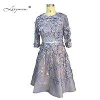 Leeymon реальное изображение Формальное короткое платье для Бала 2019 3/4 рукава Кружева Robe de Cocktail короткое коктейльное платье RE2155