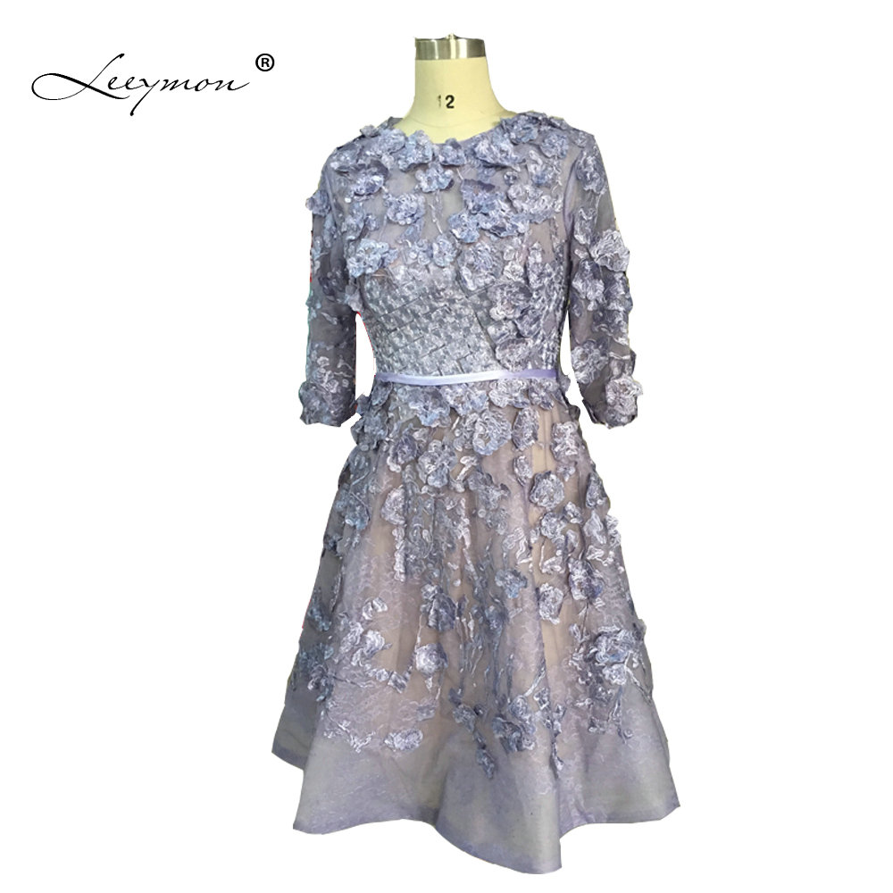 Leeymon Real Picture Formal Mini Prom Dress 2019 3/4 Sleeves Lace Robe de Cocktail Short Cocktail Dress RE2155