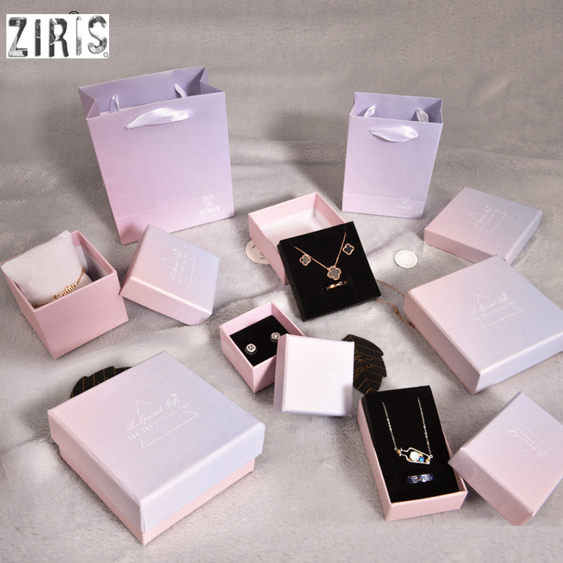 12 Pieces/Lot Gradient Pink Color Kraft Jewelry Box Gift Boxes Ring Bracelet Watch Necklace Pendant Box For Women Gift