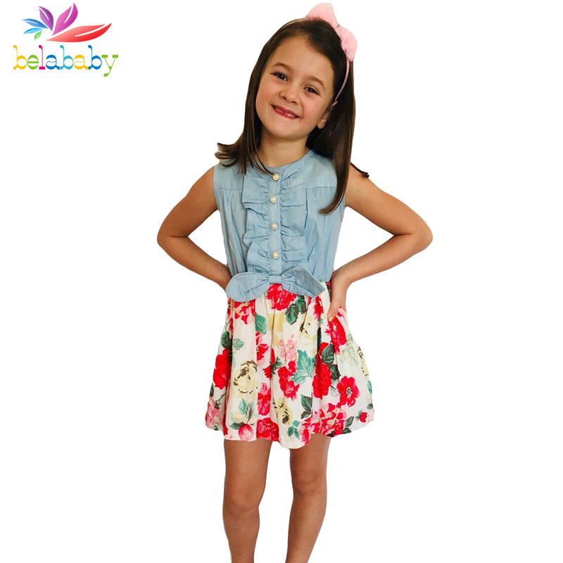 Belababy Baby Girl Dress 2018 New Brand Floral Girls Summer Dresses Princess Kids Dresses For Girls Clothing 2-9y Dropshipping kseniya kids toddler girl dresses 2017 brand new princess dress summer little girl dress sleeveless floral girls costume 2 10y