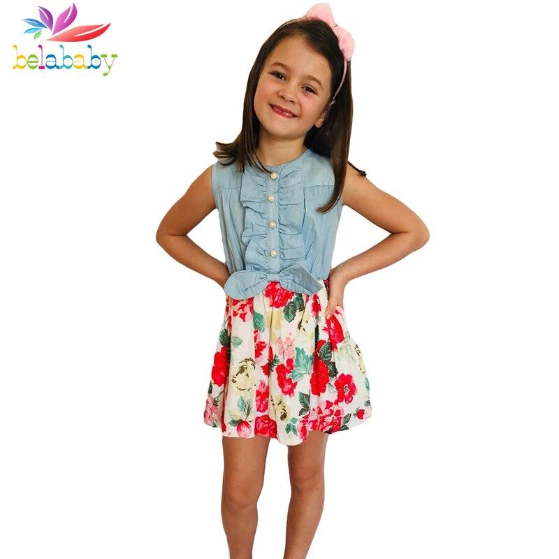 Belababy Vestito Dalla Neonata 2018 Nuovo di Marca Floreali Estate Abiti Da Principessa Bambini Vestiti Per Le Ragazze Abbigliamento-9y Dropshipping