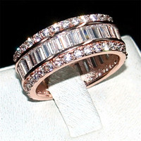 CHOUCONG JEWELRY 925 SILVER ROSE GOLD PAVE SETTING FULL 5A ZIRCON ETERNITY BAND ENGAGEMENT WEDDING STONE