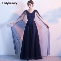 Ladybeauty New Arrival Formal Prom Dresses vestido de noite A Line Wedding Party Gowns Long Beading Evening Dresses