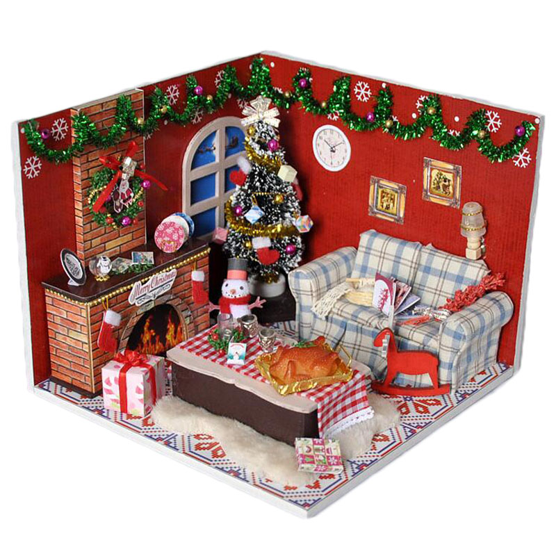 Wooden Dollhouse Furniture Kits LED Light Miniature Christmas Room DIY Dolls House Puzzle Toy Xmas Gift