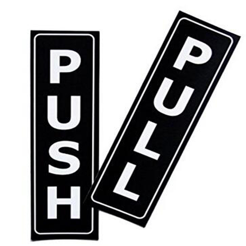 New Push Pull Vinyl Decal car Window Door Truck SUV Bumper Door Vertical Sign Set Self-Adhesive black and White Vinyl Stickers
