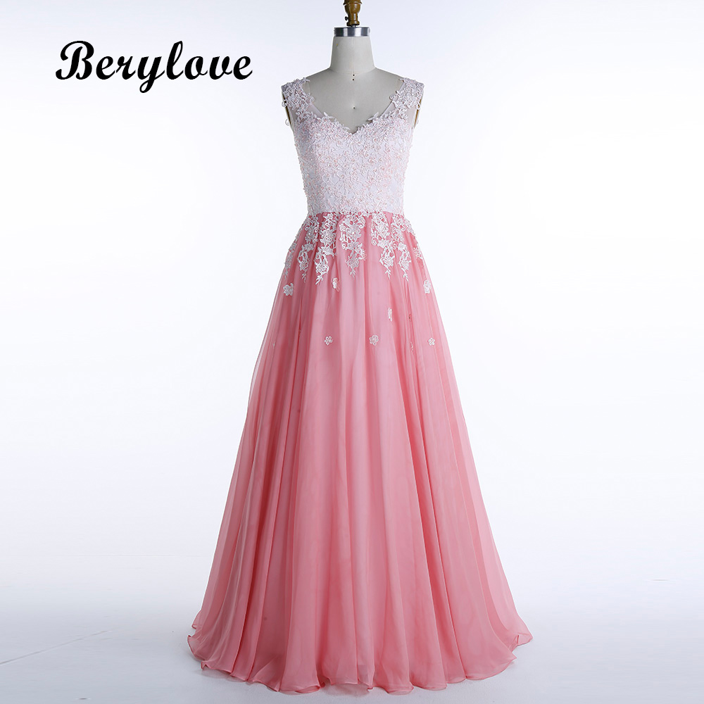 Berylove Long Pink Evening Dresses 2018 Beaded Tulle Lace Evening
