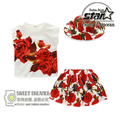 2016 New Summer Fashion Girl Dress Children's Suits Roses Cotton T-shirt + Skirt + Hat Girls Flower Set