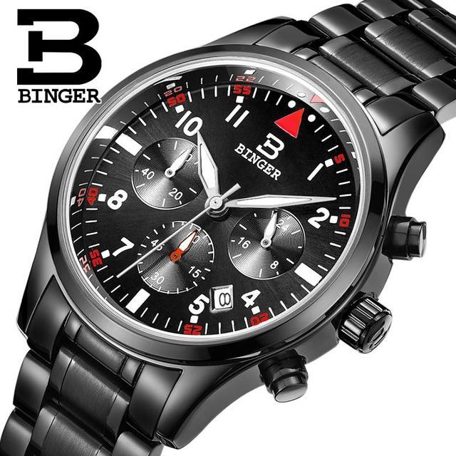 Suíça BINGER relógios homens marca de luxo de Quartzo Cronógrafo Cronômetro à prova d' água de aço inoxidável completa relógios de Pulso B9202-4