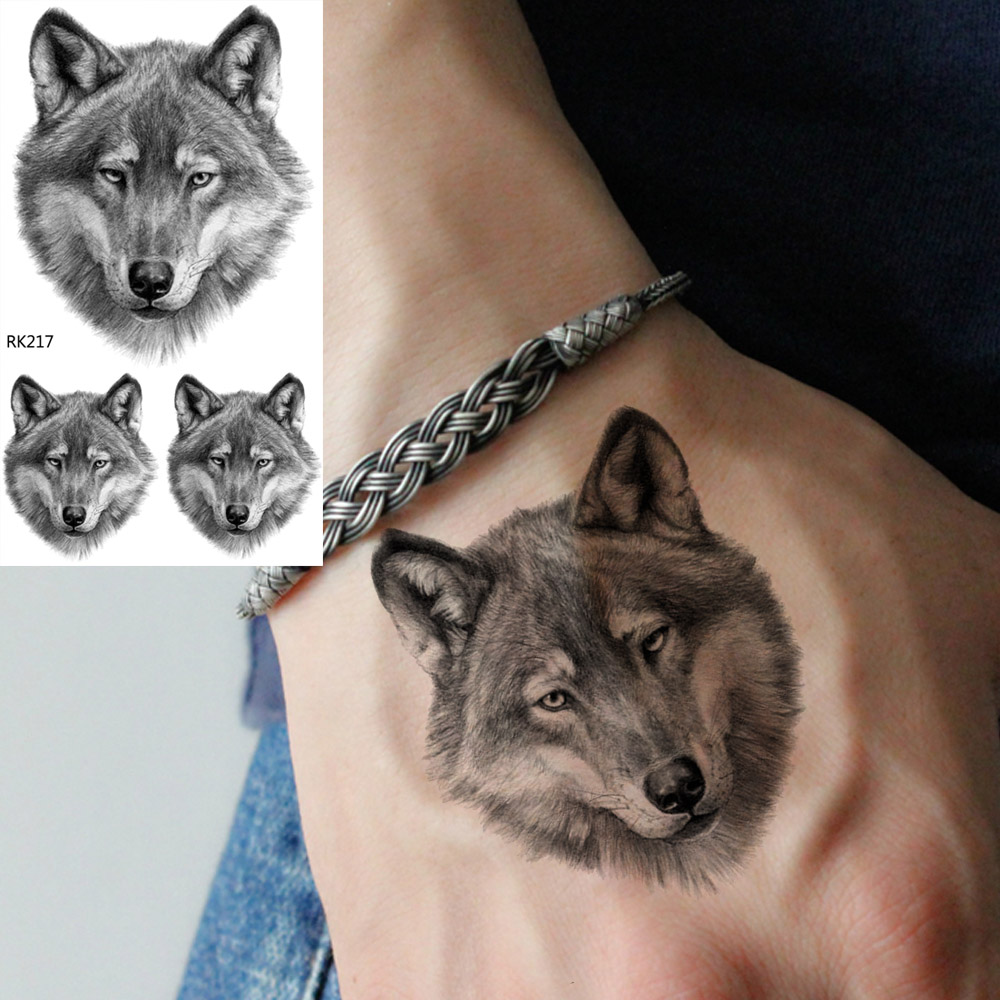 OMMGO Real 3D Wolf Face Design Temporary Tattoo Sticker Fierce Fake Tattoos Small Body Art Wrist Custom Tato Men's Fashion