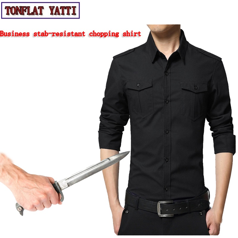 2019New Self Defense Stab resistant and anti cut soft business safety shirt FBI Stealth POLICE Leisure