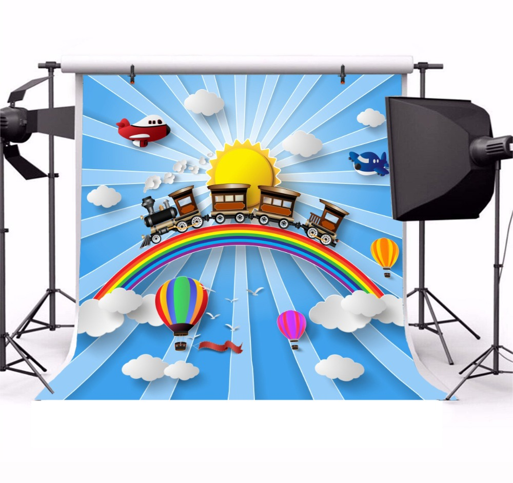 315f40493f Laeacco Steam Train Rainbow Hot Air Balloon Scene Baby Photography  Background Customized Photographic Backdrop For Photo Studio -in Background  from Consumer ...