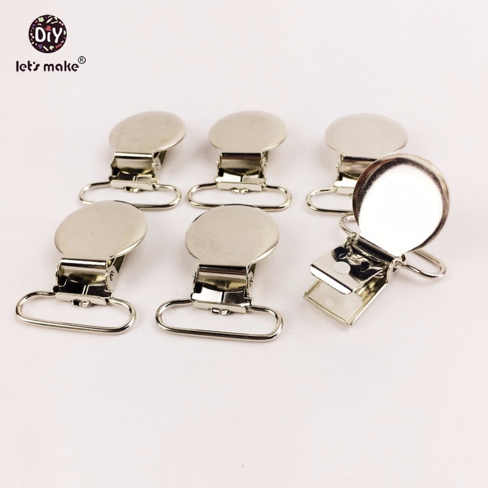 Let's Make  Pacifier Clips Metal 20PCS Pacifier Holder Clips Flat Back Baby Pacifier Clip DIY Material
