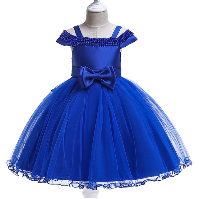 3f31b762e3681 US $9.78 15% OFF Baby Girl Silk Beading Princess Dress for Wedding party  Kids Dresses for Girls Birthday party Shoulderless Children Clothing-in ...