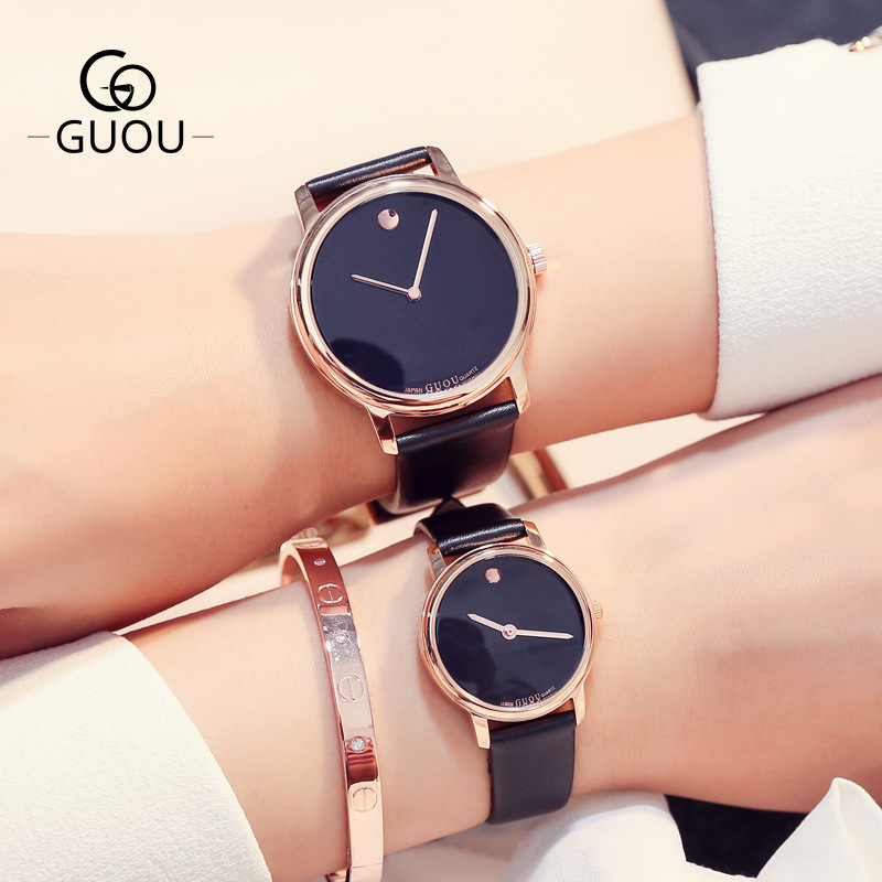 GUOU Fashion Trendy Lovers' Dress Leisure Watches Genuine Leather Crystal Women Men Dress Business Bracelet Quartz Wristwatch