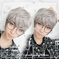 35cm Gray brown Color mixing Wig cosplay Original exclusive brother handsome guy male models lolita Harajuku male short wig