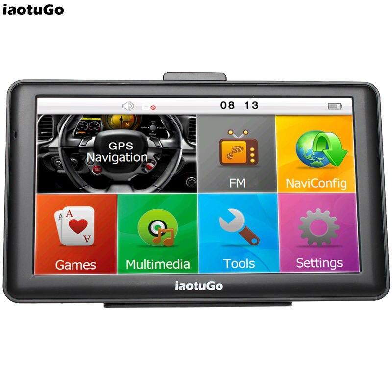 """Оригинальный iaotugo 7 """"емкостный GPS автомобильный навигатор грузовик 256 м 8 г Bluetooth AVIN FM игры музыку Новые карты бесплатное обновление"""
