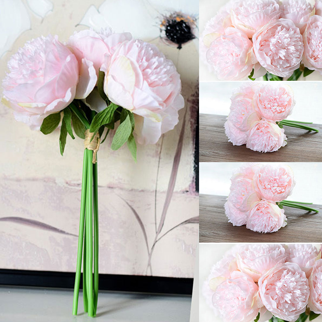 Great Cheap Artificial Fake Peony Silk Flowers Bridal Bouquet Flower