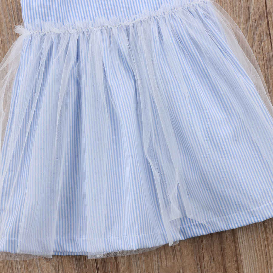 3c094d54e0 ... Cute Lovely Toddler Pretty Baby Girls Dress Fille Jolie Sleeveless  Striped Lace Tulle Sundress Bandage Outfit ...