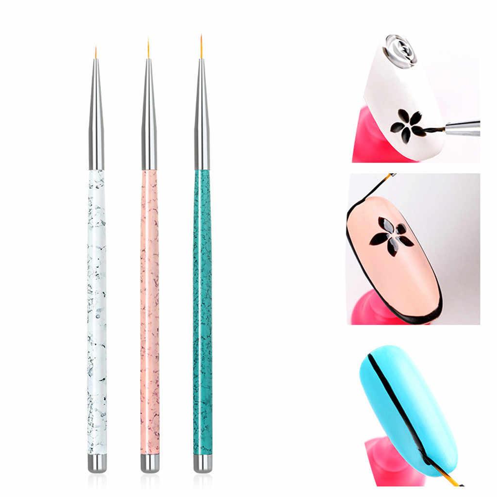 Di alta Qualità 3 pz Professionale Unghie artistiche Disegno Pittura Spazzola Della Penna Artista collezione Pennelli Detailer Liner Brush set regalo