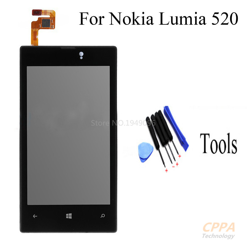 NEW For Nokia Lumia 520 LCD Display Touch Screen Digitizer Full Assembly with Bezel Frame + Tools, Free shipping aaa new for iphone 5s lcd display touch screen digitizer with bezel frame full assembly free shipping tracking no white black